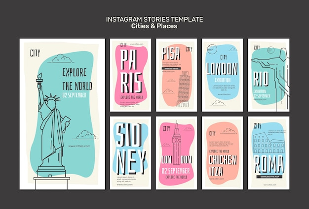 Cities and places instagram stories template