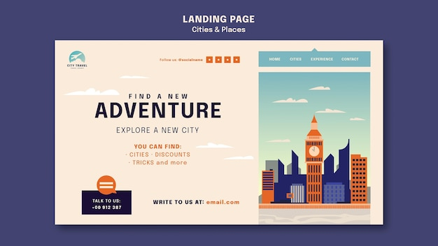Cities and places landing page template