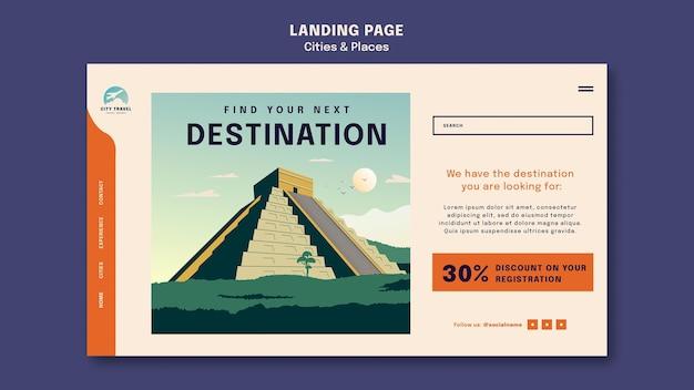 Modello di pagina di destinazione di città e luoghi
