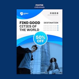 Modello di poster di città e luoghi
