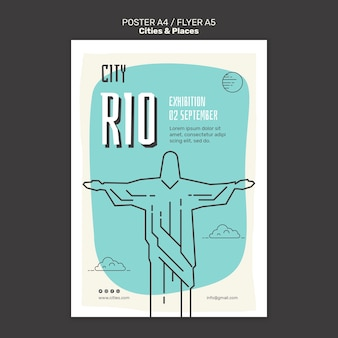 Cities and places print template Free Psd