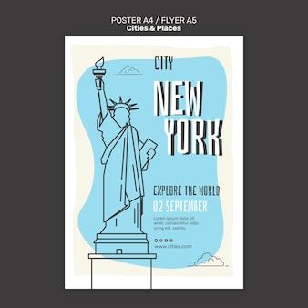 Modello di stampa di città e luoghi