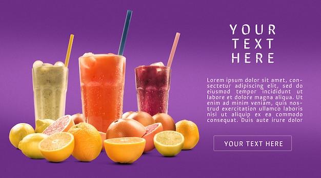 ストローモックアップとトールグラスの柑橘ジュース