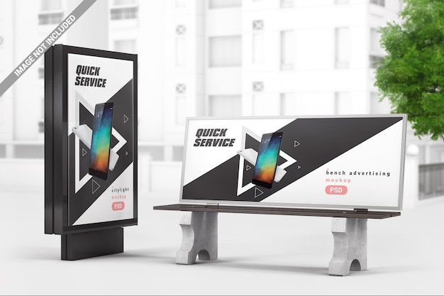 City advertising light box with bench mockup