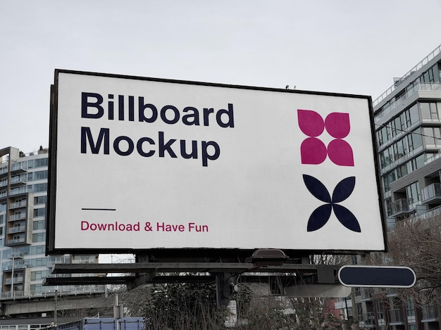 City billboard mockup over buildings