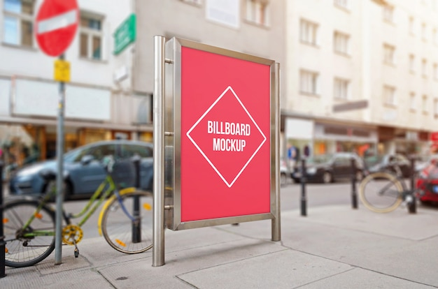 City billboard with isolated surface for mockup, design presentation.