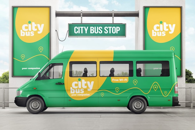 City bus on bus stop branding mockup