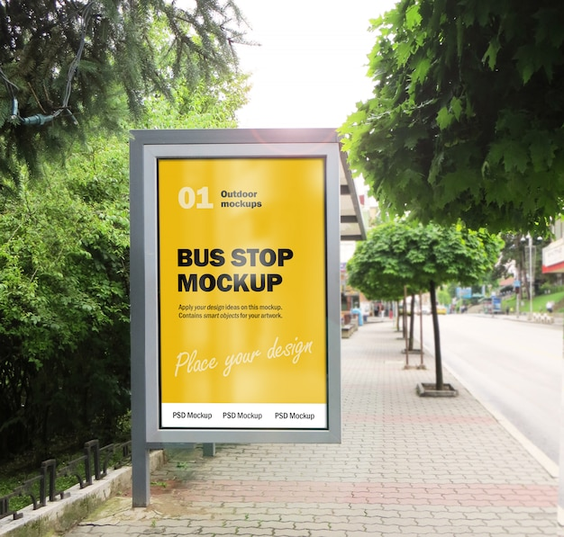 City bus stop billboard mockup