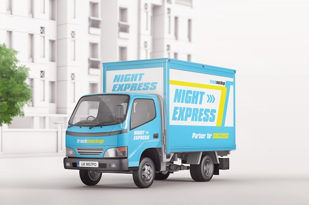 City commercial delivery truck mockup