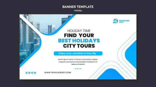 Banner orizzontale per le vacanze in città