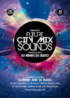 City mix sounds party flyer