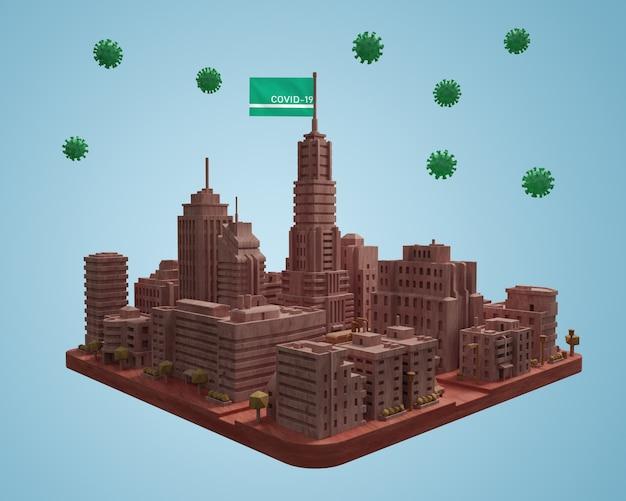 Modello di città con covid19