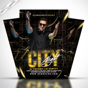 City night music party poster or flyer template