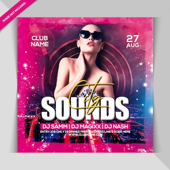 City sounds party banner template
