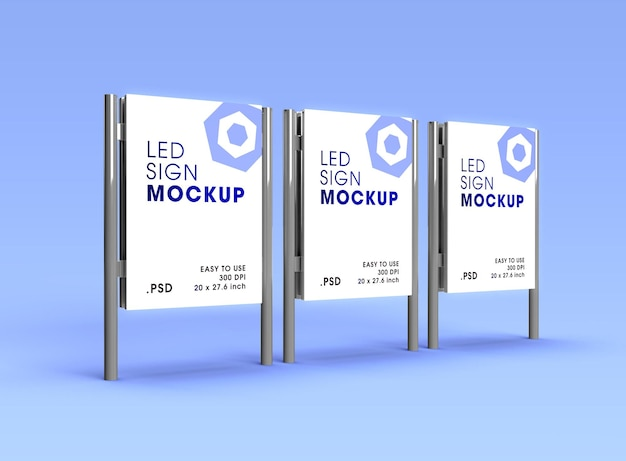 City street light advertising billboard poster support mockup design rendering