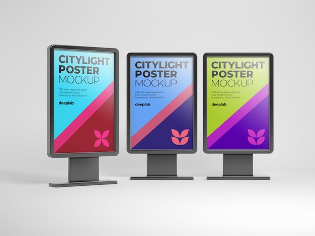 Citylight poster mockup with editable background color