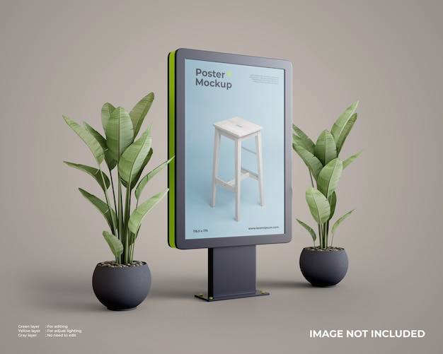 Citylight poster mockup with plant on side