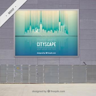 Cityscape modern outdoor billboard mock up
