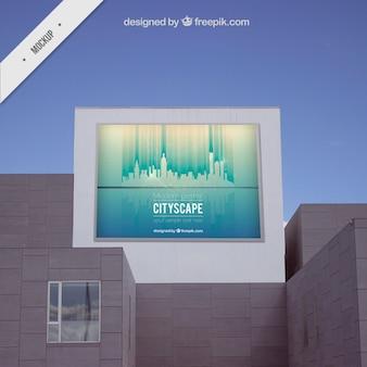 건물에 도시 옥외 광고 판