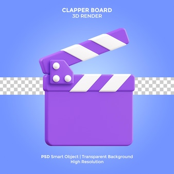 Clapper board 3d render illustration isolated premium psd