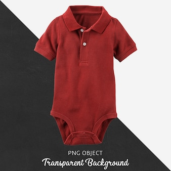Claret red polo jumpsuit for baby or children on transparent background