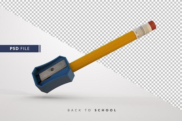 Clasico lapiz sacando punta con sacaputas azul - снова в школу 3d-концепция