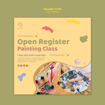 Class painting concept square flyer template