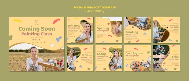 Class painting social media post template