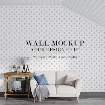 Классический макет стены в мансарде за диваном