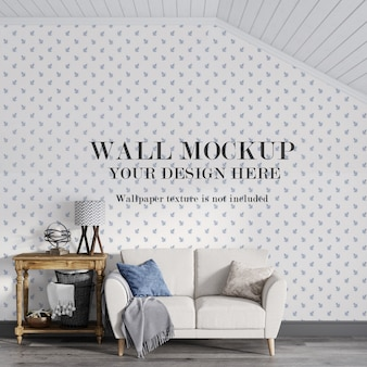 Classic attic room wall mockup behind couch