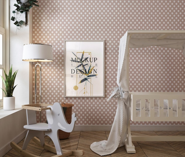 Classic baby bedroom with mockup poster frame