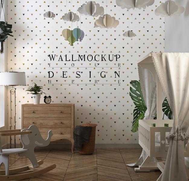 壁紙モックアップ付きのクラシックなベビーベッドルーム
