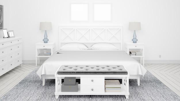 Camera da letto classica o camera d'albergo con letto matrimoniale e mobili eleganti