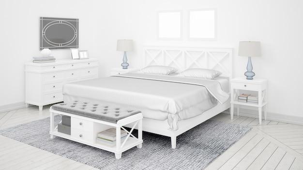 Классическая спальня или гостиничный номер с двуспальной кроватью и элегантной мебелью