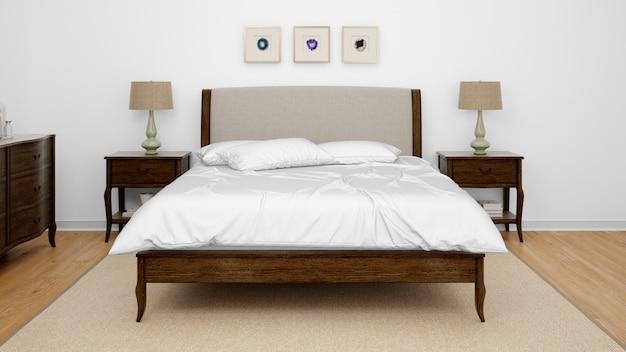 더블 침대가있는 클래식 침실 또는 호텔 객실