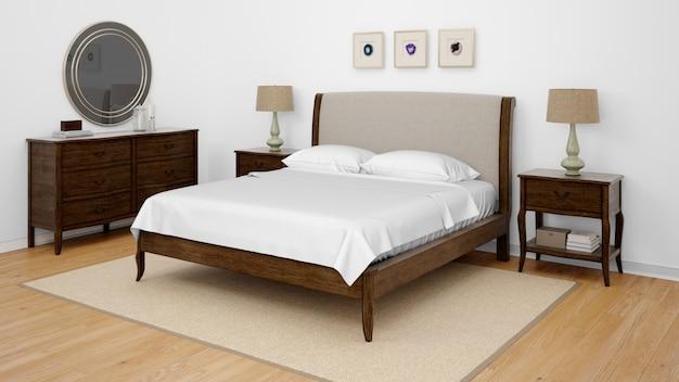 더블 침대가있는 클래식 침실 또는 호텔 객실 무료 PSD 파일