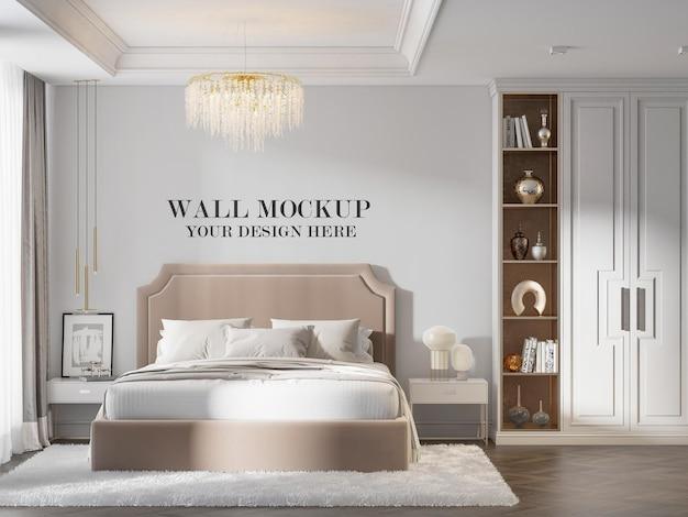 Classic bedroom wall mockup in 3d rendering