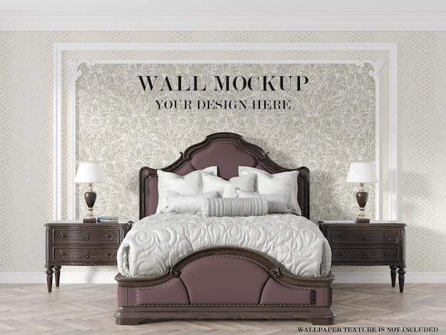 古典的な寝室の壁のモックアップ