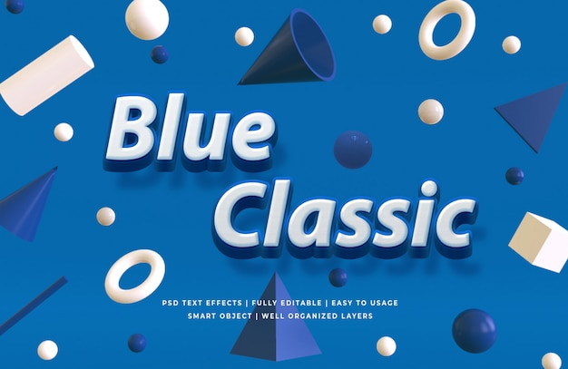 Classic blue 3d text style effect mockup