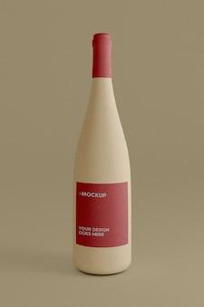 古典的な粘土瓶ワインモックアップ