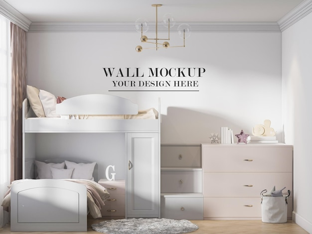 Classic double decker bed in front of mockup wall