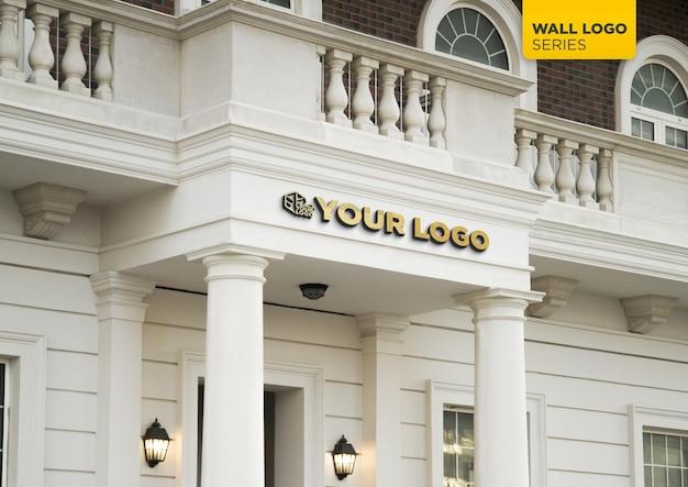 Classic facade 3d logo mockup sign