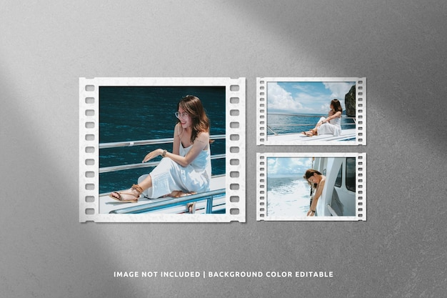 Classic film collage paper frame mockup with shadow