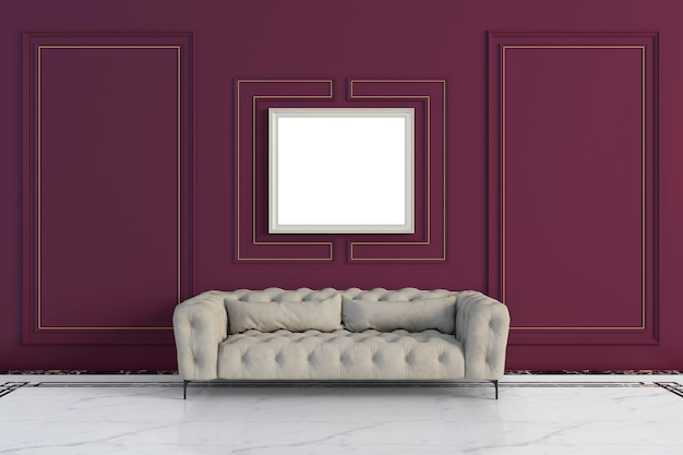 Classic mockup frame style living room
