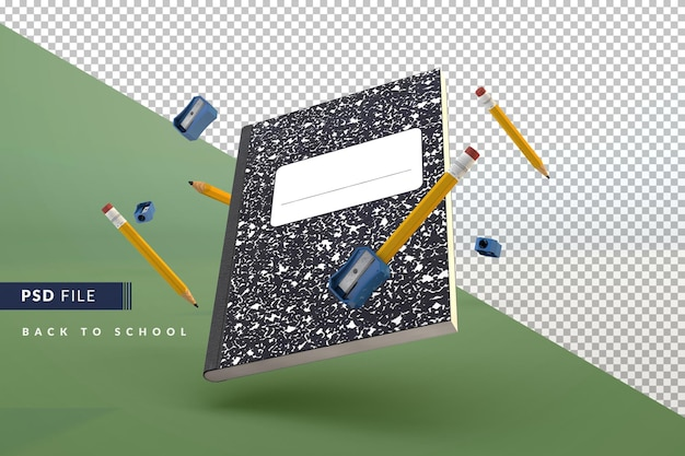 Classic notebook with goblet and pencil sharpener floating a back to school 3d concept