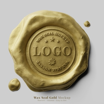 古典的な丸い金色の滴るワックスシーリングスタンプロゴテキスト効果モックアップ