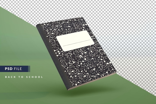 Classic student notebook a back to school 3d concept