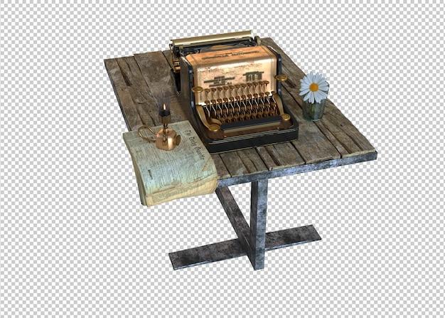 Классическая пишущая машинка на деревянном столе