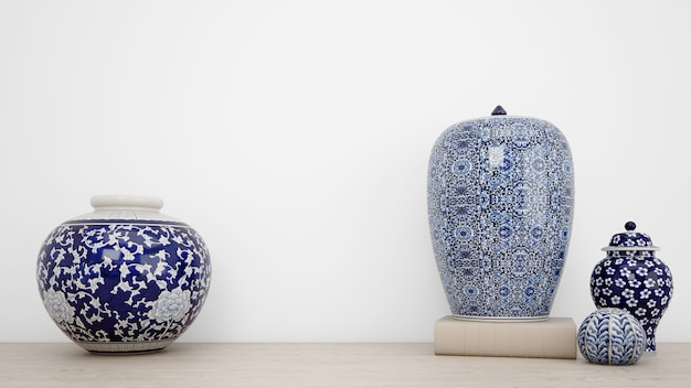 Классические вазы для интерьера и белой стены