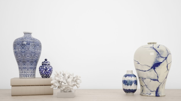 Classic vases for interior decoration and white wall with copyspace
